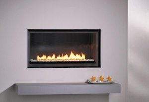 Montigo Gas Fireplace L Series Linear with Glass Stones